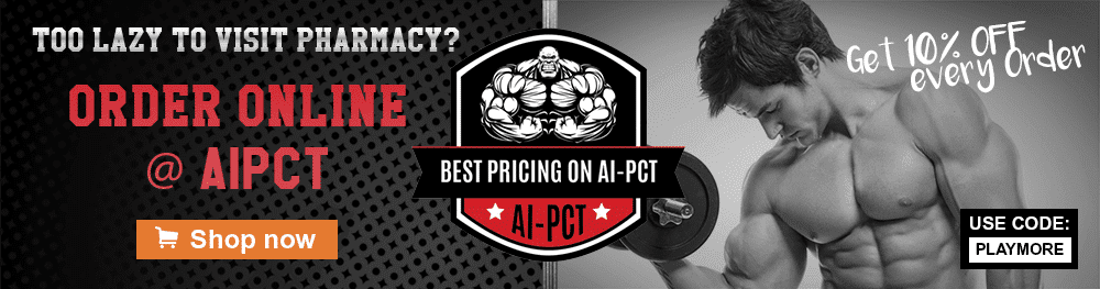 Banner - bodybuilder doing an arm-curl with AIPCT shop discount info