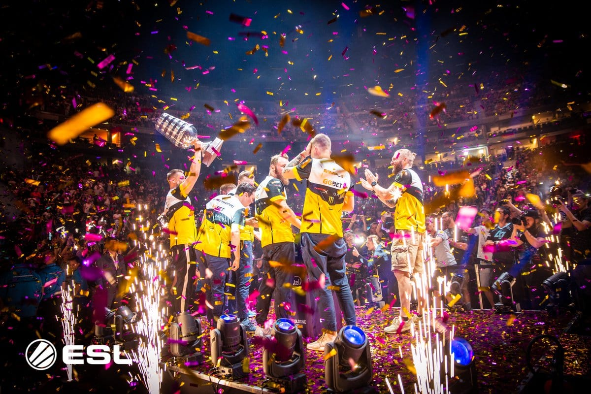 Team Natus Vincere celebrating their victory in the ESL One Cologne 2018 Grand Finals by hoisting the trophy