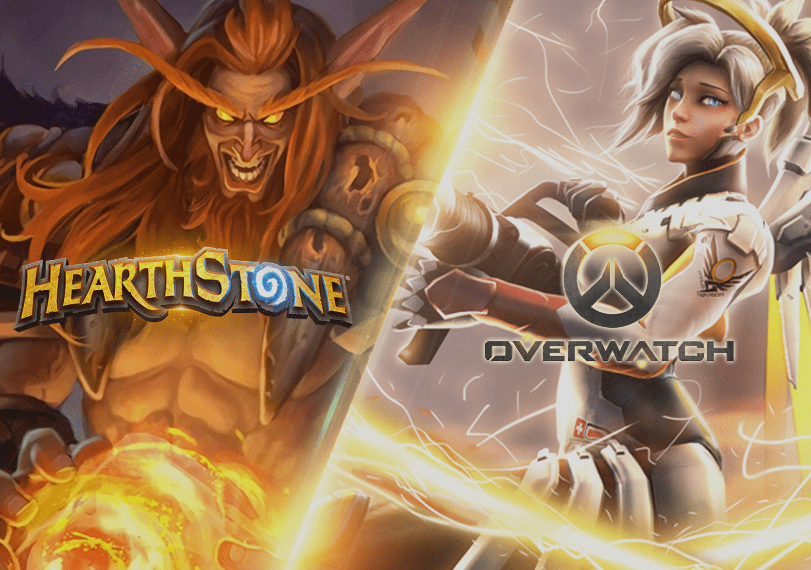 Overwatch and hearthstone banners side by side with logo