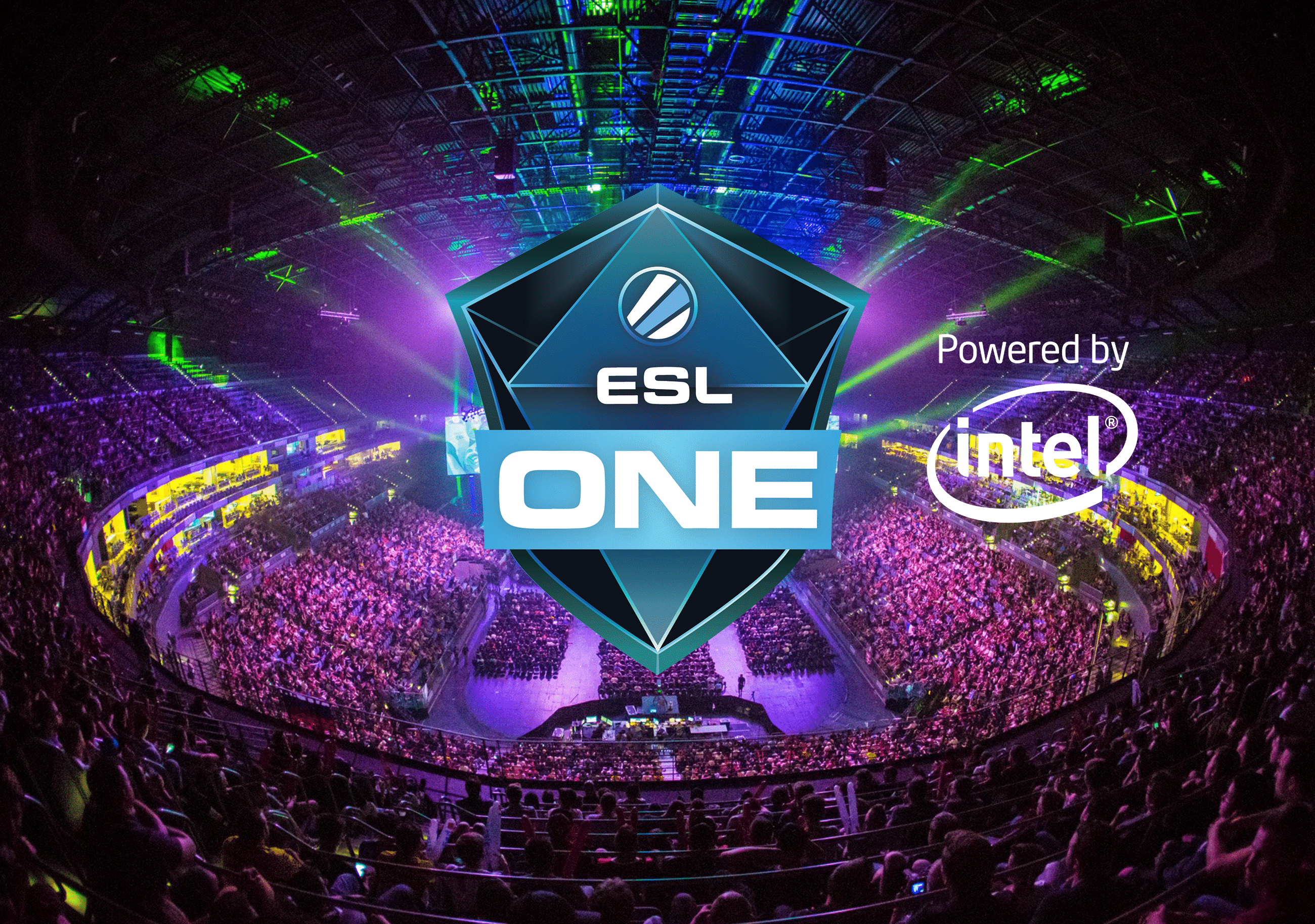 ESL One Cologne 2018 (CS: GO) Tournament Poster with logo in foreground and esports arena at the back