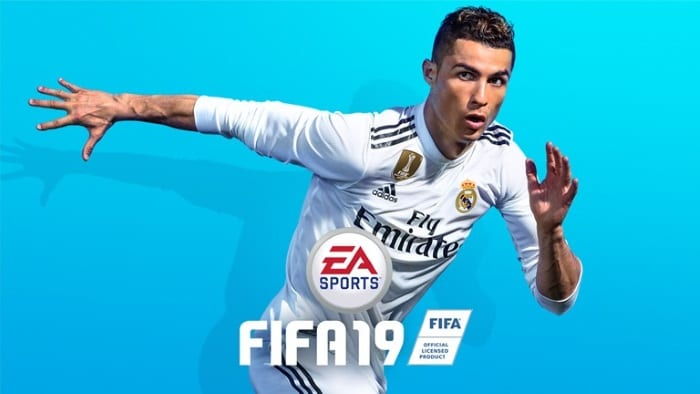FIFA 19 promo banner with Christiano Ronaldo in a Real Madrid kit