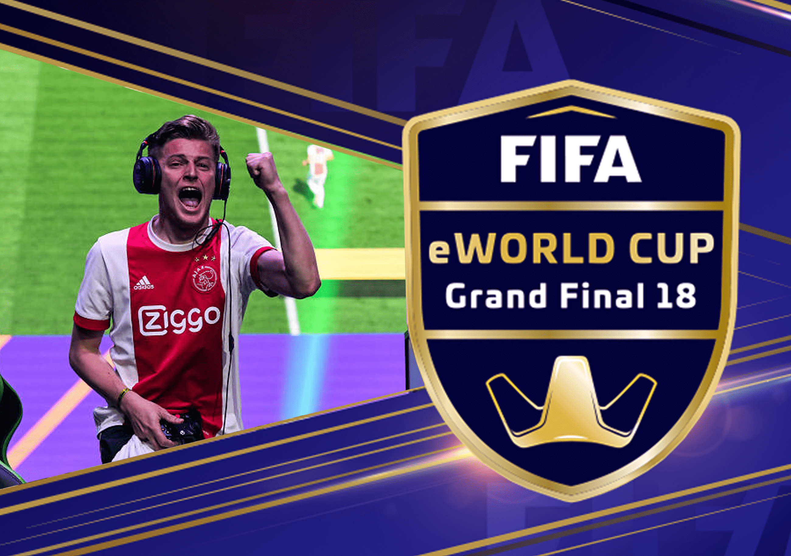 FIFA eWorld Cup 2018 Tournament promo with tournament Logo and player celebrating