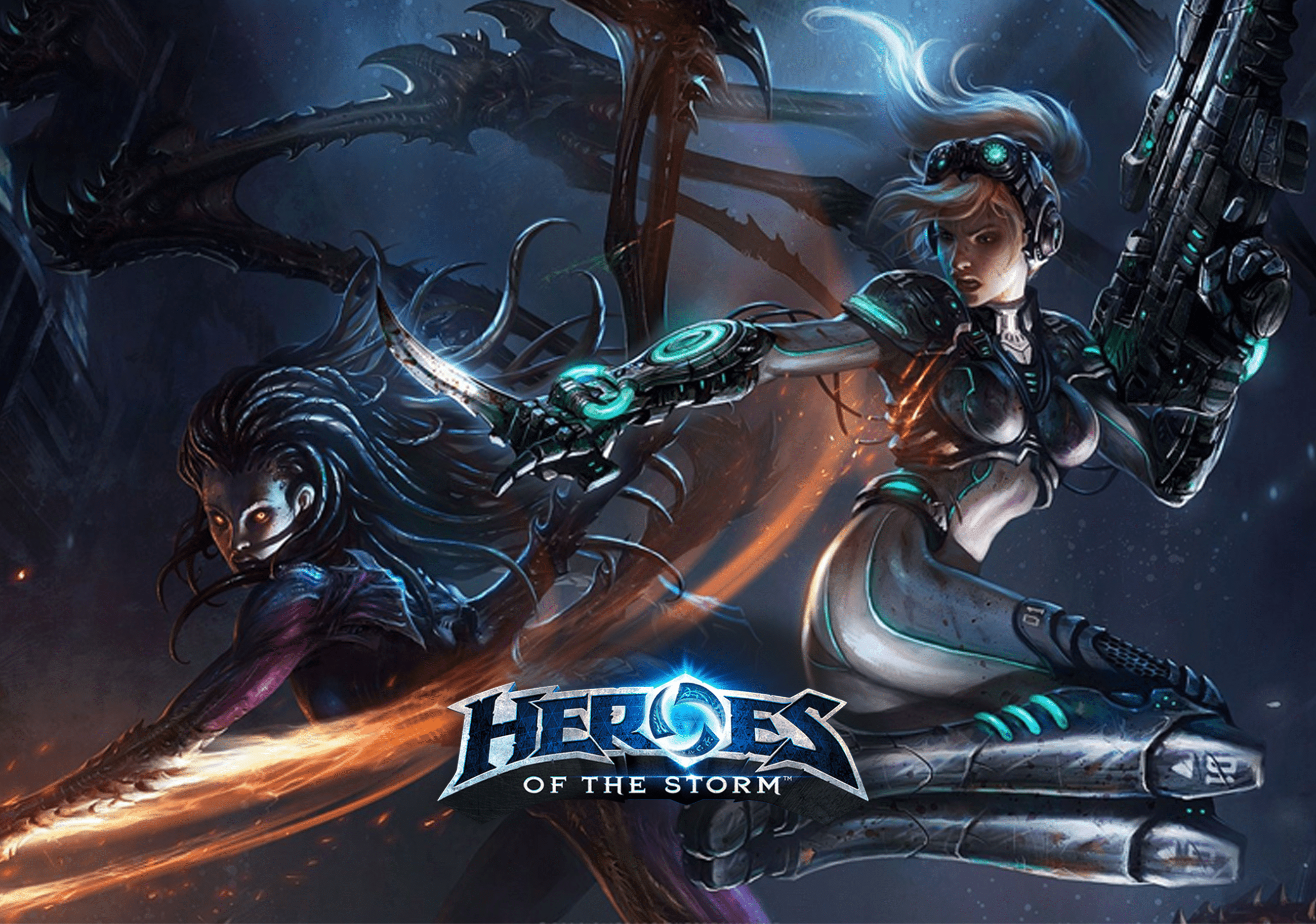 Heroes of the Storm Character Image with game Logo in the foreground
