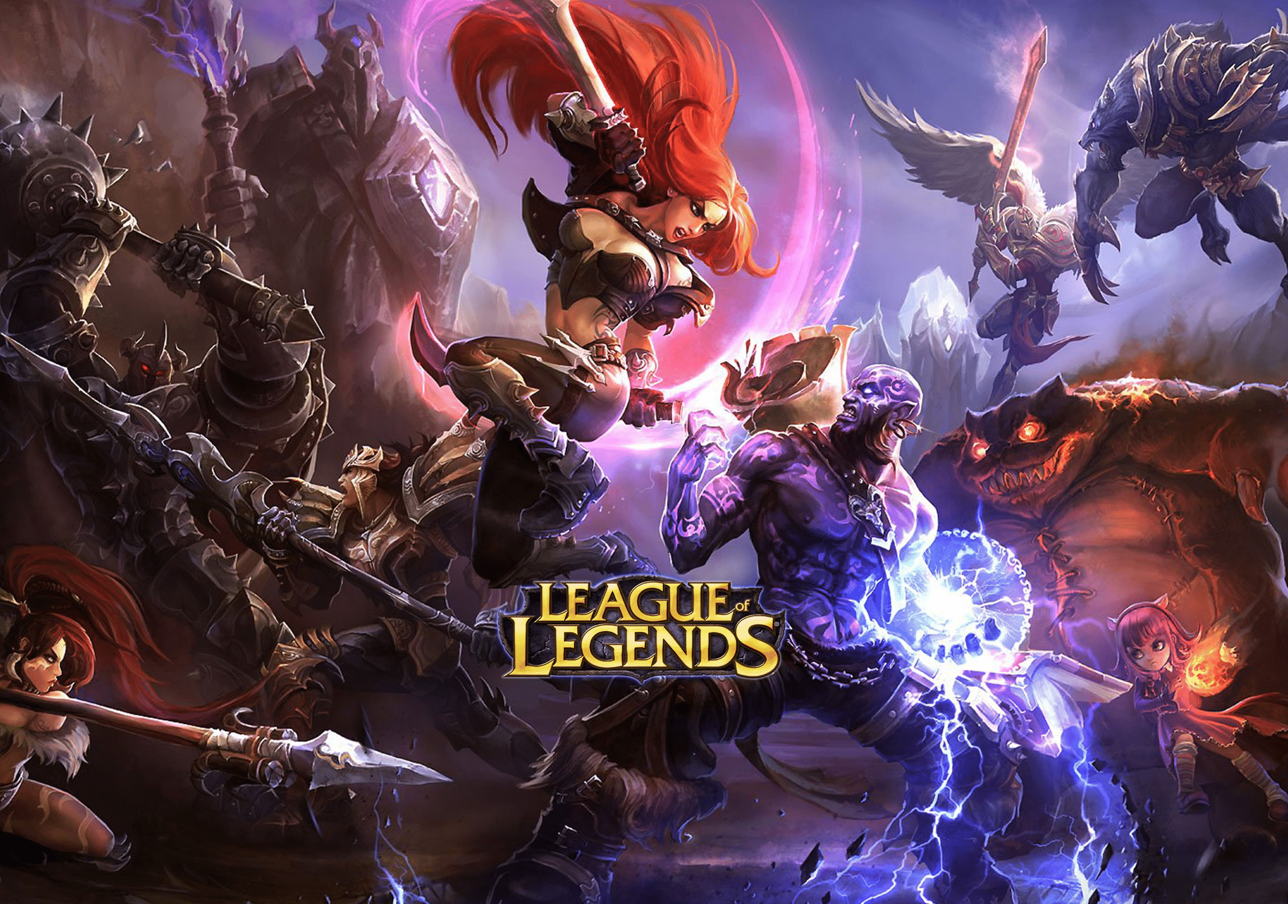 League of Legends character graphics with logo