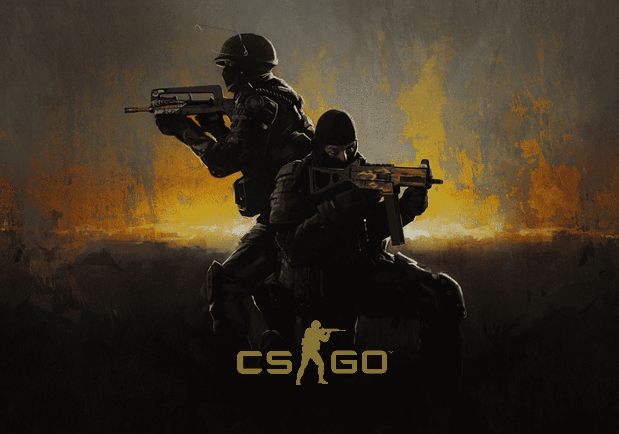 CS:Go Promo Banner with game logo in the foreground