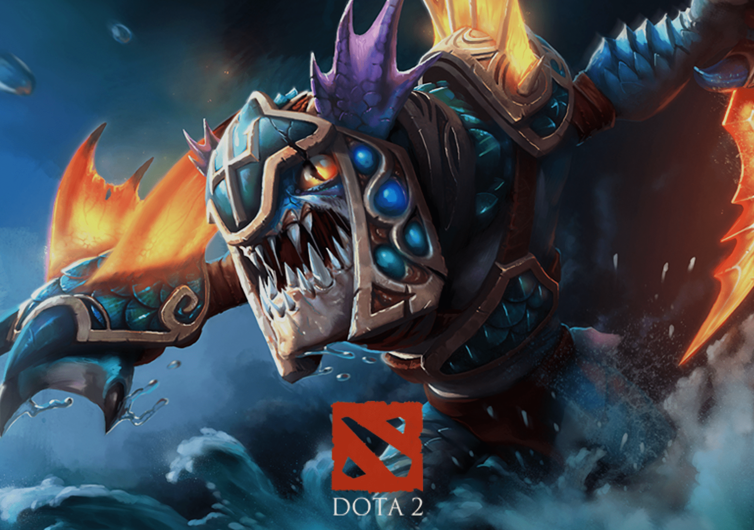 Dota 2 Promo with game logo in foreground