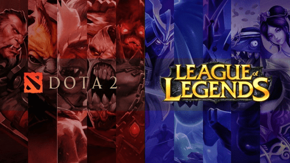 Dota 2 and League of Legends multiple characters in red and blue respectively with the game logos
