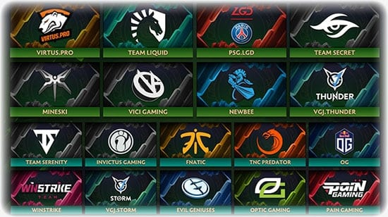 The 8 invited teams and 10 qualified for The International 2018