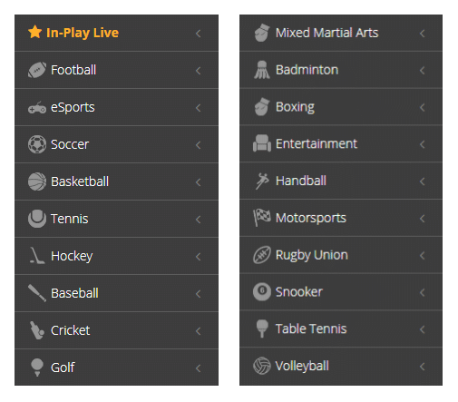 Nitrogensports Betting Categories as seen on the official website