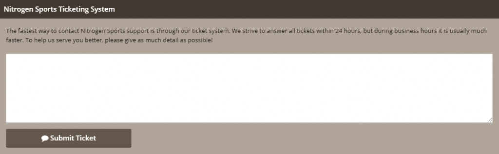 Nitrogensports ticketing system as seen on the website