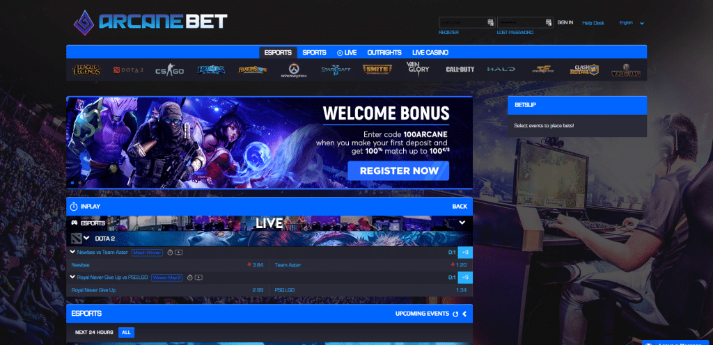 Arcanebet.com Home Page as seen on the website