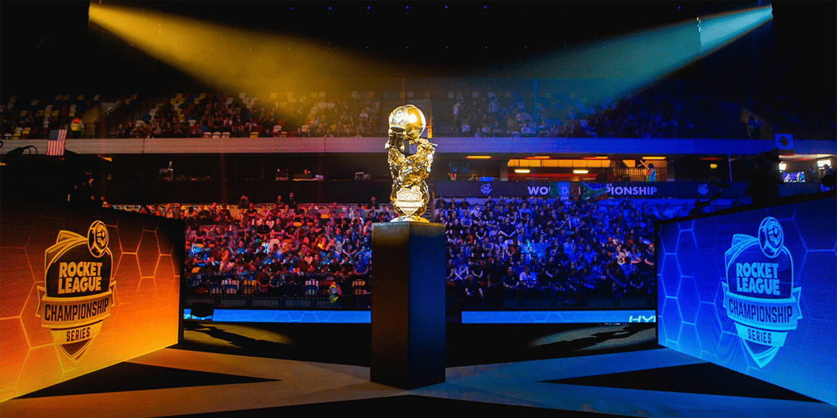 Biggest Prize pool games 2019 in Esports Rocket League Trophy lit by lights