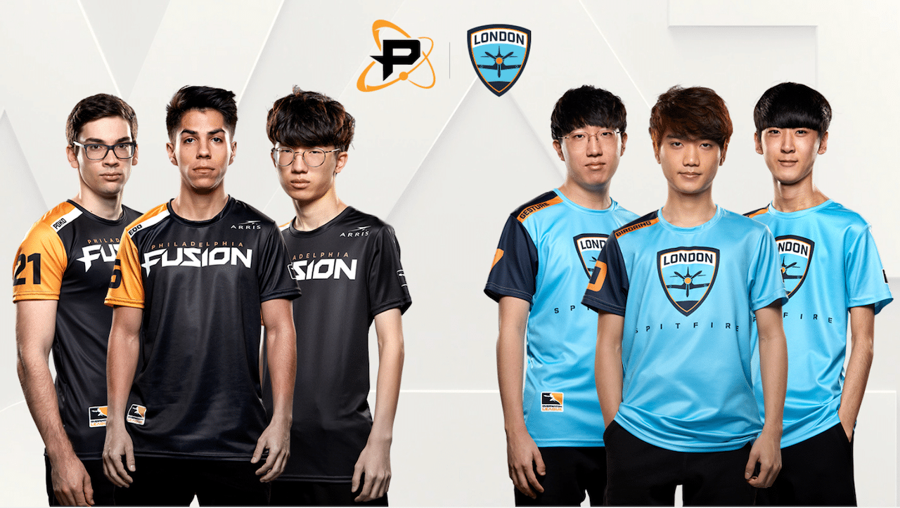 Six young men are pictured against a white background. The left three are members of the Philadelphia Fusion, and the right three are members of the London Spitfire. All are wearing their respective team jerseys.