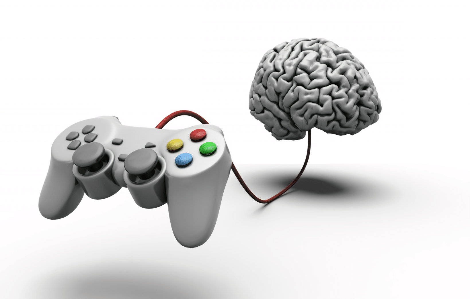 3d image of a brain connected to a video game controller