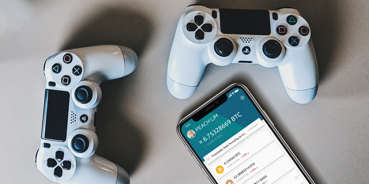 Blockchain and Gaming - two joypads and a phone