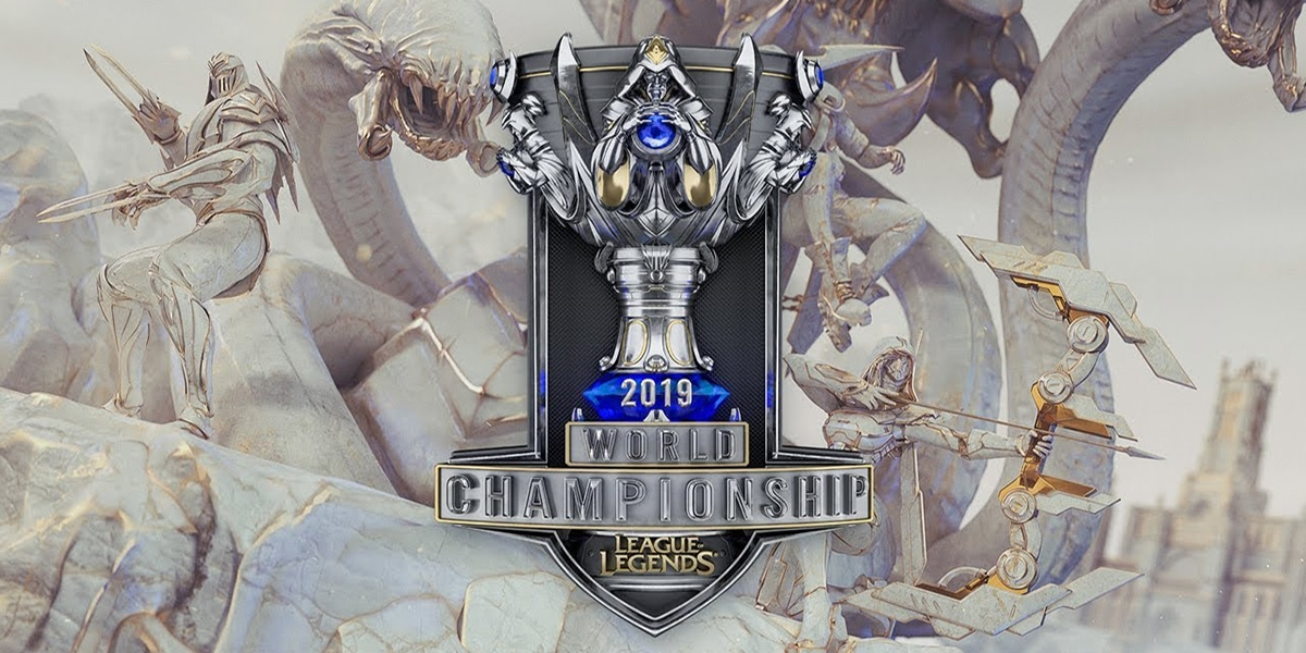 LoL Worlds 2019 banner with logo and white serpents in the background