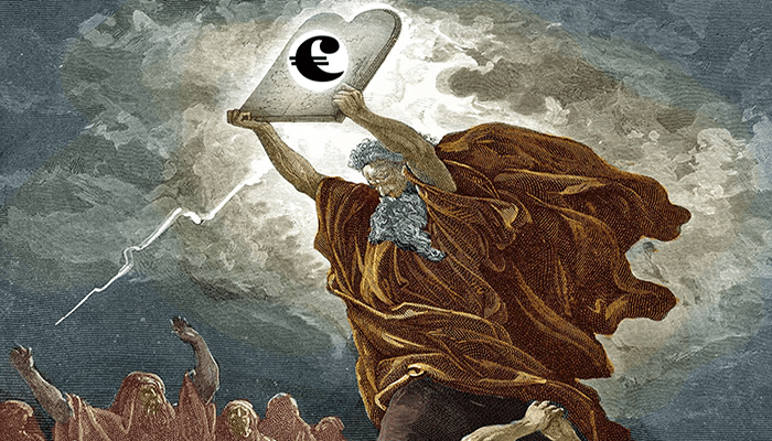 moses with cryptocurrency symbol on tablet