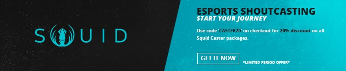 20 Percent discount banner for Squid caster program